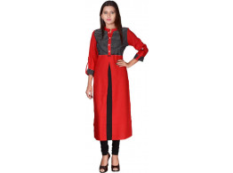 Pneha Casual Solid Women's Kurti  (Red, Black)