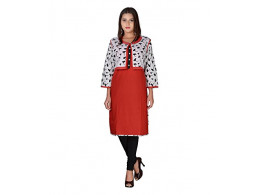 PNEHA Designer kurti with jacket Women's Red