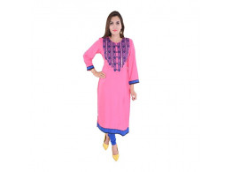 Pneha 3/4th Sleeve Knee Length Pink Kurti