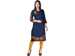 Radha's Embroidered Women's A-line Kurta  (Blue)
