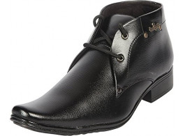 Rock Passion Men's Black Synthetic Leather Formal Shoes