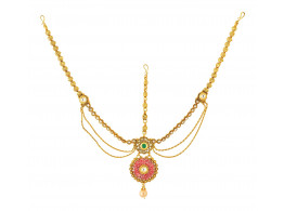 Spe Indian Ethnics Golden Copper Maang Tikka for Women (FHL-04)