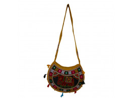 The Living Craft ETHNIC MOON SHAPED WOMEN's SLINGBAG with AARI WORK Multicolor TLCBG0252