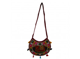 The Living Craft ETHNIC MOON SHAPED WOMEN's SLINGBAG with AARI WORK Multicolor TLCBG0256