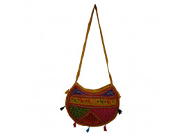 The Living Craft ETHNIC MOON SHAPED WOMEN's SLINGBAG with Mix Patchwork Multicolor TLCBG0258