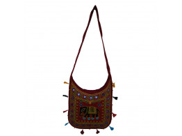 The Living Craft ETHNIC U-SHAPED WOMEN's SLINGBAG with AARI WORK Multicolor TLCBG0263