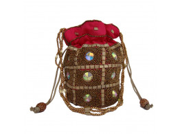 The Living Craft Beaded Satin Women's Potli with Multi Color Stones