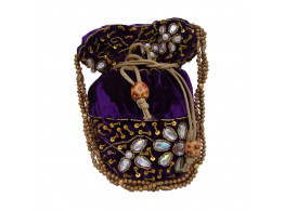 The Living Craft Velvet Potli with heavy beads & Stone work