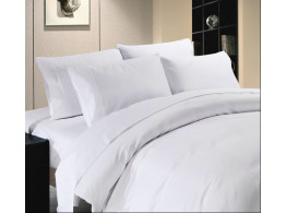 Egyptian Cotton Beddings Solid Bed Sheet With Pillow Covers - White