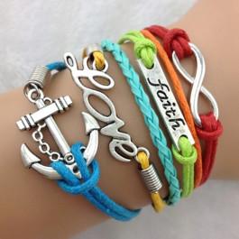 Angelfish Faith, Love & Anchor Bracelet-Antique Silver Charm Bracelet