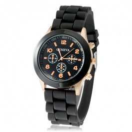 Angelfish Women's or Girl's Watch Fashion Silicone Strap Candy Color Length 25Cm Black