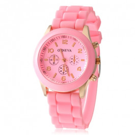 Women's or Girl's Watch Fashion Silicone Strap Candy Color Length 25Cm Pink