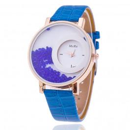 Women Rhinestone Wrist Watch Leather Strap - Blue