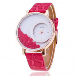 Women Rhinestone Wrist Watch Leather Strap - Rose Red