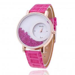 Women Rhinestone Wrist Watch Leather Strap - Pink