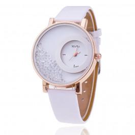 Women Rhinestone Wrist Watch Leather Strap - White