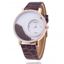 Women Rhinestone Wrist Watch Leather Strap - Coffee