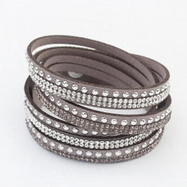 Multilayer Crystal Bracelet Sand - Brown