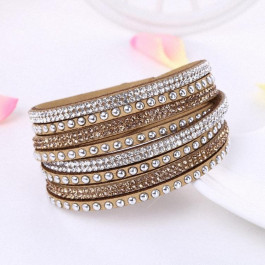 Multilayer Crystal Bracelet - Light Sandy Brown