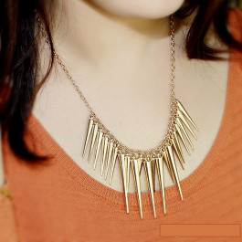 punk style alloy spike collar necklace