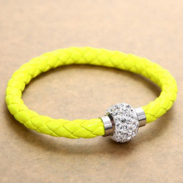 Pu Leather Crystal Bracelet With Magnet Clasp - Lemon Green