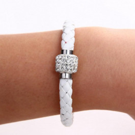 Pu Leather Crystal Bracelet With Magnet Clasp White