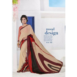 Georgette Fabric Machine Work Printed Multicolor Saree