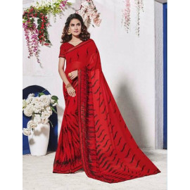 Designer Georgette Fabric Red Saree